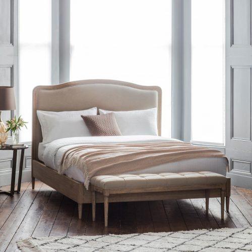 Loire King Bed Cement Linen